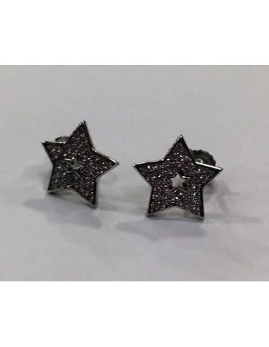 Pendientes plata estrella circonitas