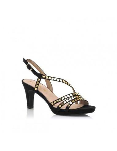 Sandalia de mujer, afelpado negro