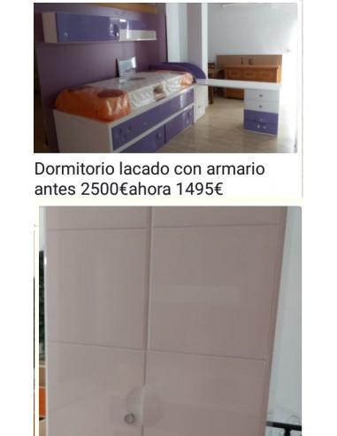 DORMITORIO LACADO CON ARMARIO....